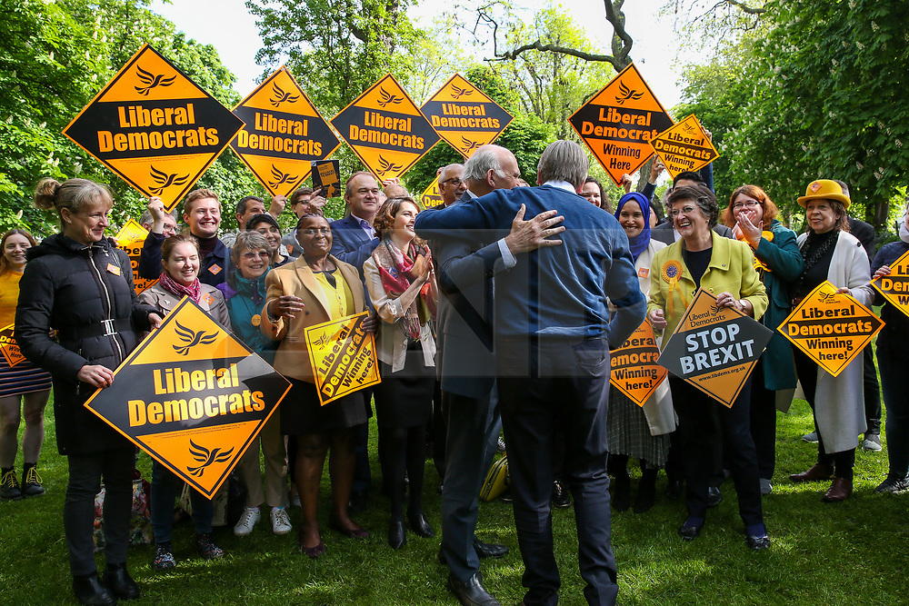 © Licensed to London News Pictures. 10/05/2019. London, UK. Guy Verhofstadt, the EU Parliament's representative on Brexit and the Leader of the Alliance of Liberals and Democrats for Europe is greeted by Vince Cable in Camden, north London for the Liberal Democrats European Union election campaign. Britain must hold European Parliament elections on 23rd May 2019 or leave the European Union with no deal on 1st June 2019 after Brexit was delayed until 31st October 2019, as Prime Minister, Theresa May failed to get her Brexit deal approved by Parliament. Photo credit: Dinendra Haria/LNP