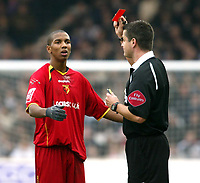 Photo: Chris Ratcliffe.<br />Luton Town v Watford. Coca Cola Championship.<br />02/01/2006.<br />Ashley Young (L) of Watford is sent off by referee I Williamson.