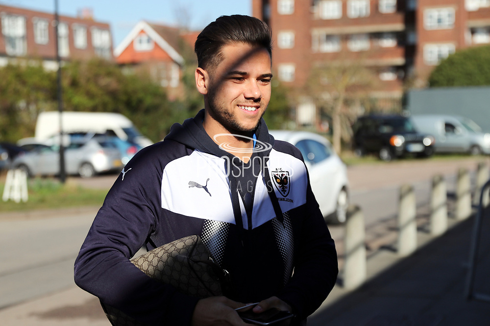 AFC Wimbledon attacker Harry Forrester (11) arriving during the EFL Sky Bet League 1 match between AFC Wimbledon and Bristol Rovers at the Cherry Red Records Stadium, Kingston, England on 17 February 2018. Picture by Matthew Redman.
