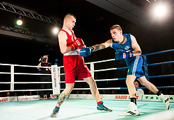 Brajan Jovanovic of Serbia (BLUE) fights against Luka Mejac of Slovenia (RED) in Elite 81 kg Category during Dejan Zavec Boxing Gala event in Laško, on April 21, 2017 in Thermana Lasko, Slovenia. Photo by Vid Ponikvar / Sportida