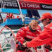 Leg 3, Cape Town to Melbourne, Day 01 on board MAPFRE. Sophie Ciszek and Blair Tuke trimming during the race start. Photo by Jen Edney/Volvo Ocean Race. 10 December, 2017.