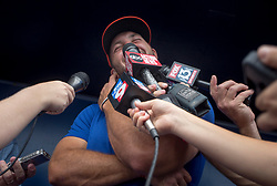 August 10, 2017 - Florida, U.S. - CHARLIE KAIJO   |   Times.Tim Tebow answers questions for the media during a press conference at Steinbrenner Field Tampa, Fla. on Thursday, August 10, 2017. (Credit Image: © Charlie Kaijo/Tampa Bay Times via ZUMA Wire)