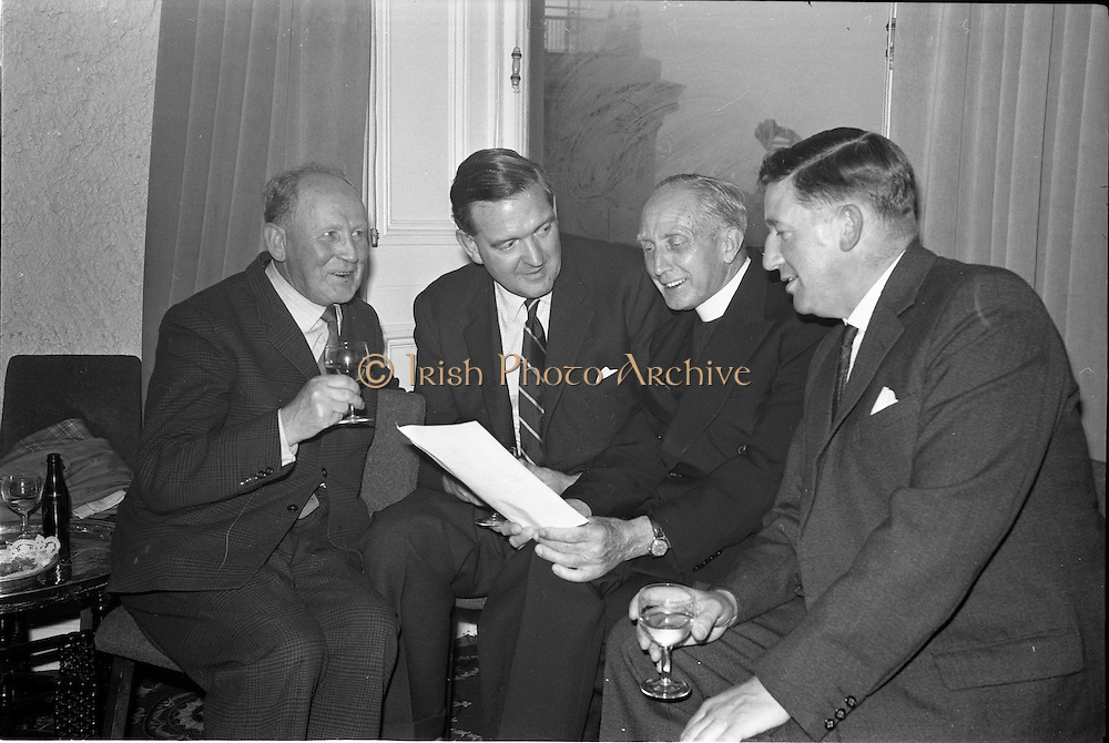 01/07/1963<br /> 07/01/1963<br /> 01 July 1963<br /> W.D. & H.O. Wills LTD., handing over trophy to Glenageary Horse Show Committee at the Royal Marine Hotel, Dun Laoghaire. A prize fund cheque of £300  and silver trophy for the winner of the Gold Flake Stakes were presented to the committee. Picture shows: Discussing the programme for the Gold Flake Stakes are (l-r) Mr J. McElroy, Vice Chair, Horse Committee; Mr D.R. Mott, General Manager W.D. & H.O. Wills Ltd.; Very Rev. Fr Lucey, P.P. Glasthule and Mr M.P. Finnegan, P.R.O., Horse Show Committee.