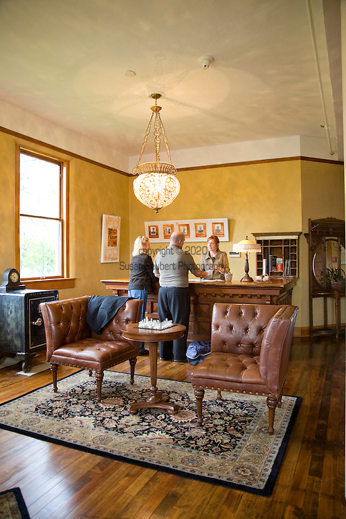 Check-in lobby at the Balch Hotel. The historic Balch Hotel in rural Dufur, Ore. .Built in 1907, the Balch Hotel reopened  in 2007 after a yearlong overhaul that included restoring woodwork and redecorating with understated but elegant antiques. Nestled in rolling alfalfa fields 98 miles east of Portland, the hotel is a popular destination for sun-seeking Portlanders.  It is also attractive for weddings and is accessible to many outdoor activities in the area.