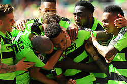 Kaiyne Woolery of Forest Green Rovers celebrates his goal with team mates - Mandatory by-line: Nizaam Jones/JMP - 14/05/2017 - FOOTBALL - Wembley Stadium- London, England - Forest Green Rovers v Tranmere Rovers - Vanarama National League Final