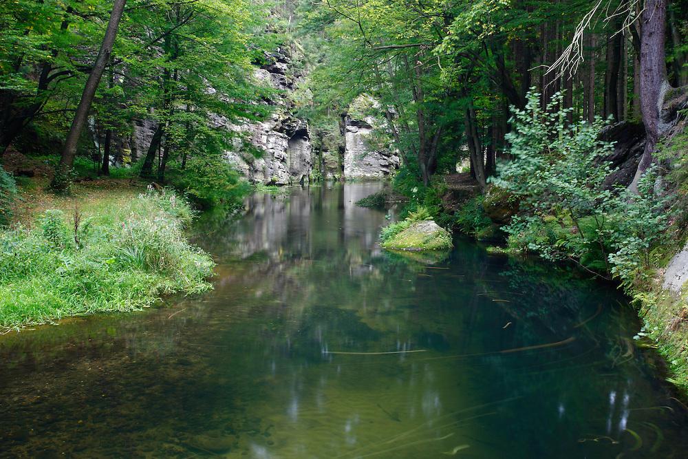 KRINICE RIVER.<br /> DLOUHY DUL. CESKE SVYCARSKO. CZECH REPUBLIC.