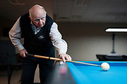 Bob Keller plays a game of billiards at Three Cushion Billiards in Madison, WI on Friday, May 10, 2019.