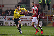 Middlesbrough forward Jordan Rhodes (9)  tries to evade Rotherham United defender Kirk Broadfoot (5)  during the Sky Bet Championship match between Rotherham United and Middlesbrough at the New York Stadium, Rotherham, England on 8 March 2016. Photo by Simon Davies.