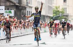 Winner Luka Mezgec (SLO) of Orica - Scott celebrates at finish line during Stage 2 of 24th Tour of Slovenia 2017 / Tour de Slovenie from Ljubljana to Ljubljana (169,9 km) cycling race on June 16, 2017 in Slovenia. Photo by Vid Ponikvar / Sportida
