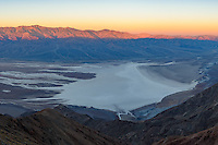 Death Valley in California is a land of extremes. On my last morning there I shot the sunrise from Dante's View. From this incredible viewpoint Badwater Basin can be seen, which at 282 feet below sea level is the lowest place in North America. The basin is also consistently the hottest place on Earth. High's in the 120's and lows in the 90's are not uncommon here in the summer. Even in November it was 95°F while I was here. The average annual rainfall is less than 2 inches. In the distance beyond the extensive salt flats rises the Panamint Range up to the 11,049 feet high Telescope Peak. From valley to summit, only one other mountain in the continental US has a greater vertical rise (Mt. Rainier). The previous evening I shot the sunset from Badwater Basin, and the evening before that from the summit of Telescope Peak.