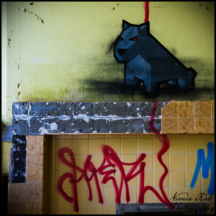 Dog painted by LukeDaDuke on a tiled mantlepiece