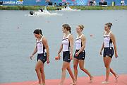 Eton Dorney, Windsor, Great Britain,..2012 London Olympic Regatta, Dorney Lake. Eton Rowing Centre, Berkshire[ Rowing]...Description;   USA W4X Bronze medalist, Natelie DELL, Kara HOLER, Megan KALMOE and Adrienne MARTELLI.   Dorney Lake. 12:41:39  Wednesday  01/08/2012 [Mandatory Credit: Peter Spurrier/Intersport Images]  .