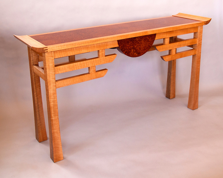Anigre hall table<br /> Anigre and Amboyna burl<br /> handcrafted for a client in Boulder Heights, Co.