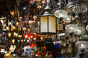 Traditional Turkish ornate lanterns  lamps in The Grand Bazaar, Kapalicarsi, great market in Beyazi, Istanbul, Turkey