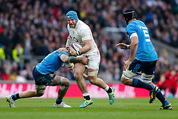 England Flanker James Haskell is challenged by Number 8 Sergio Parisse and Italy Lock Marco Bortolami - Photo mandatory by-line: Rogan Thomson/JMP - 07966 386802 - 14/02/2015 - SPORT - RUGBY UNION - London, England - Twickenham Stadium - England v Italy - 2015 RBS Six Nations Championship.