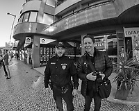 Poliza & Steve Discussing Street Photography in Lisbon. Image taken with a Nikon D850 camera and 8-15 mm fisheye lens.