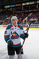 KELOWNA, CANADA - JANUARY 5: Ted Brennan #10 of the Kelowna Rockets skates to the bench to celebrate a goal against the Seattle Thunderbirds on January 5, 2017 at Prospera Place in Kelowna, British Columbia, Canada.  (Photo by Marissa Baecker/Shoot the Breeze)  *** Local Caption ***