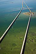 Aerial view of the seven mile bridge spanning the keys in Florida.
