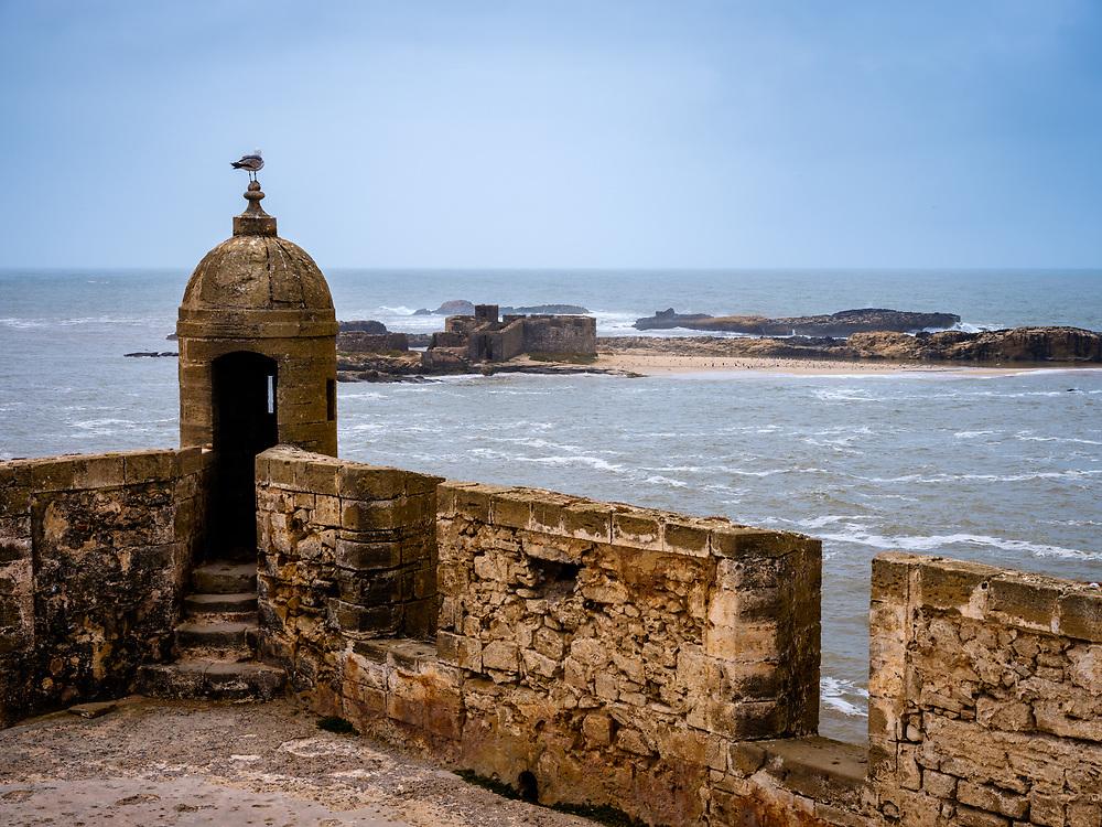 ESSAOUIRA, MOROCCO - CIRCA MAY 2018:  View from the Castelo Real of Mogador in Essaouria.