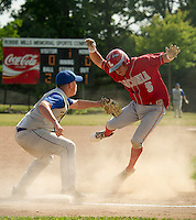 Franklin's Corey Nelson makes the out on James Salta at third during 1st round Division III baseball at Robbie Mills Field on Thursday afternoon.  (Karen Bobotas/for the Laconia Daily Sun)