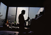 Silicon Valley, California; Icarian Corporation Software CEO; Doug Merritt, talking on phone in his office, 9 am. Model Released (1999).