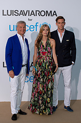 Franco Gusalli Beretta, Umberta Gnutti Beretta and Carlo Gusalli Beretta arriving at a photocall for the Unicef Summer Gala Presented by Luisaviaroma at Villa Violina on August 10, 2018 in Porto Cervo, Italy. Photo by Alessandro Tocco/ABACAPRESS.COM