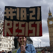 London, UK. 1st April, 2017.  Protesteors rally  Against Housing Benefit Cuts For 18-21 Year Olds demand Theresa May to stop Housing Benefit Cuts  and gives us back our home in Parliament square,London,UK. by See Li