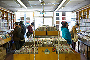 People searching for vinyl records at Music and Video Exchange shop on the 26th March 2018 in Notting Hill, West London in the United Kingdom.