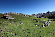 Huts used to keep cows in during the early winter months at Majada de las Bobiás in the Picos de Europa