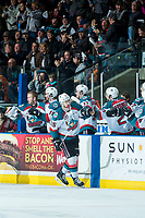 KELOWNA, CANADA - APRIL 8: Tomas Soustal #15 of the Kelowna Rockets skates past the bench to celebrate a second period goal against the Portland Winterhawks on April 8, 2017 at Prospera Place in Kelowna, British Columbia, Canada.  (Photo by Marissa Baecker/Shoot the Breeze)  *** Local Caption ***