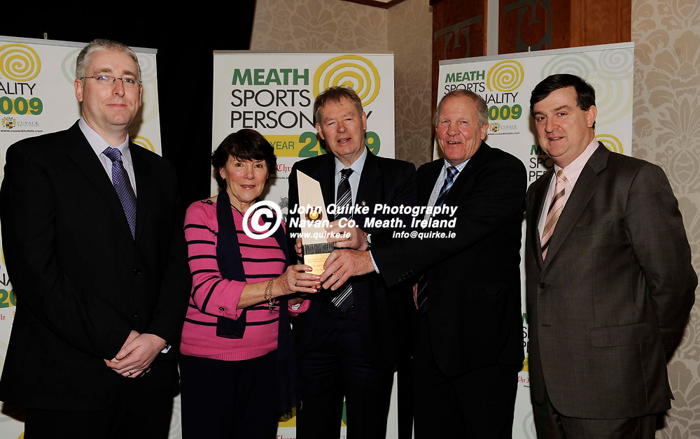 15-01-2010. Meath Chronicle / Cusack Hotel Group Sports Personalty of the Year awards 2009 at the Knightsbrook Hotel, Trim.<br /> May award winner Shane Horgan<br /> L to R: Fergal Lynch, Meath Chronicle. Ursula and John Horgan (Representing their son Shane) receiving the May award from Micheal O'Muircheartaigh (Centre). Alan McEntee, Cusack Hotel Group.<br /> Photo: John Quirke / www.quirke.ie<br /> ©John Quirke Photography, Unit 17, Blackcastle Shopping Cte. Navan. Co. Meath. 046-9079044 / 087-2579454.