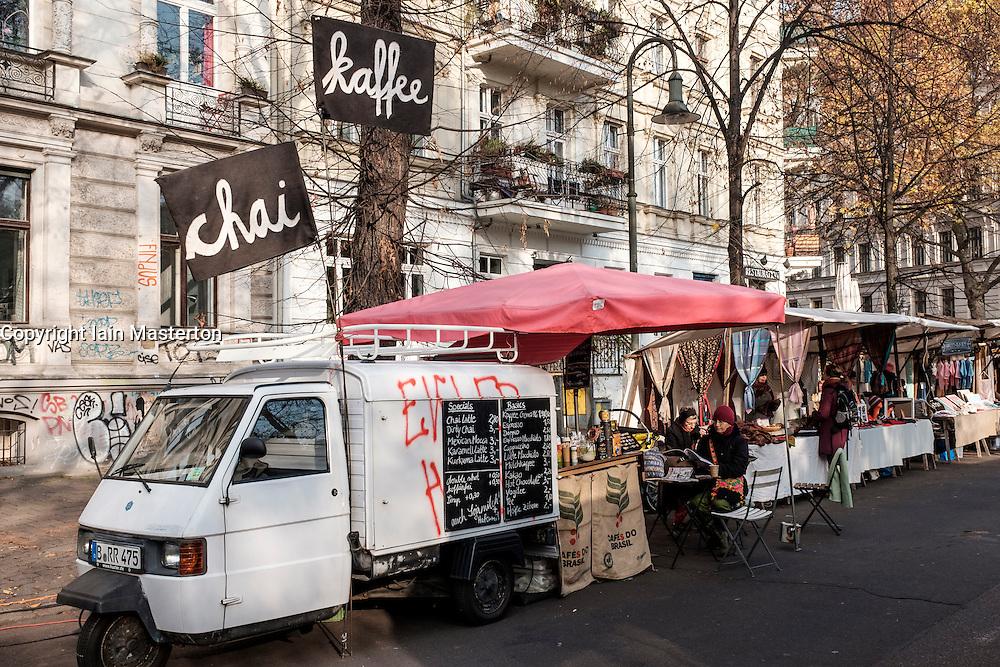 View of mobile cafe at weekly Eko-Markt, or Eco-Market, at Kollwitzplatz in gentrified Prenzlauer Berg neighbourhood of Berlin , Germany