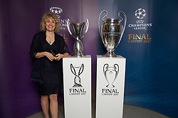CARDIFF, WALES - Monday, December 5, 2016: Guests at the Wales Sport Awards 2016 pose with the UEFA Champions League Trophies before the ceremony at the Millennium Centre. (Pic by Ian Cook/Propaganda)
