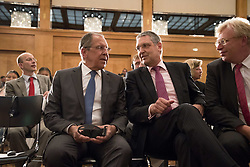July 13, 2017 - Berlin, Germany - Russian Foreign Minister Sergey Lavrov (L) and State Secretary Markus Ederer (2R) attend an event for the end of the 'German-Russian Youth Exchange Year 2016/17' at the Foreign Ministry in Berlin, Germany on July 13, 2017. (Credit Image: © Emmanuele Contini/NurPhoto via ZUMA Press)