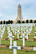 Cemetery of Douaumont and the ossuary, Ossuaire de Douaumont, at Fleury-devant-Douaumont near Verdun, France