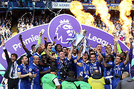 Chelsea lift the Premier League Trophy. Premier league match, Chelsea v Sunderland at Stamford Bridge in London on Sunday 21st May 2017.<br /> pic by Steffan Bowen,  Andrew Orchard sports photography.