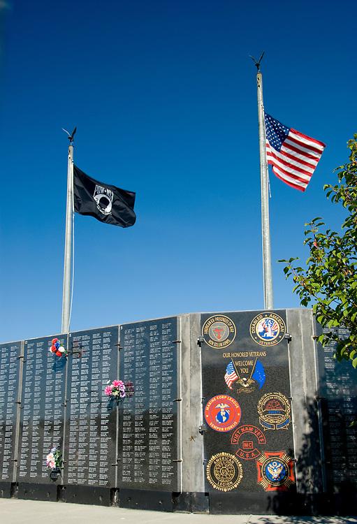 Veterans memorial with flags iin Wasilla Alaska