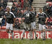Photo: Jed Wee.<br />Sunderland v Fulham. The Barclays Premiership. 08/04/2006.<br />Fulham celebrate Brian McBride's goal.