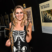 Larissa Eddie BBC Tv judge scares as a sexy skeleton hold a snake at The London Bridge Experience & London Tombs on 28 October 2018, London, UK.