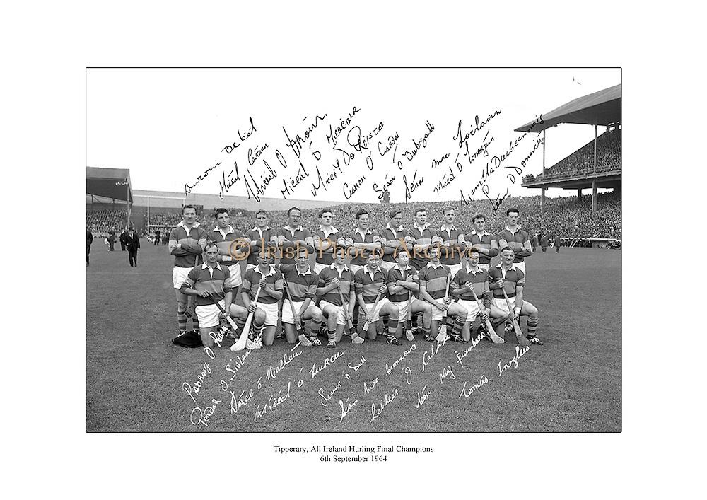 Signed team shot of Tipperary hurling team, 1964 All Ireland Champions.