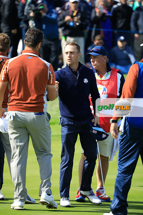 Justin Thomas (Team USA) on the 17th during the Saturday Fourballs at the Ryder Cup, Le Golf National, Paris, France. 29/09/2018.<br /> Picture Phil Inglis / Golffile.ie<br /> <br /> All photo usage must carry mandatory copyright credit (© Golffile   Phil Inglis)