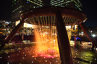 The Fountain of Wealth is listed by the Guinness Book of Records as the largest fountain in the world. It is located in one of Singapore's largest shopping malls, Suntec City.  During the daytime the fountain is turned off and visitors are invited to walk around a mini fountain at the center of the fountain base for good luck. At night, the fountain is the setting for light shows between 8pm to 9pm daily.