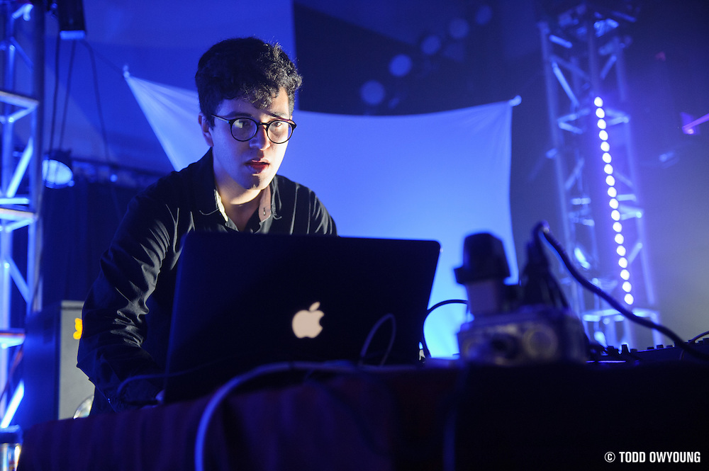 Electronic music producer Alvin Risk performing in the Bass Room at the first annual Pulse Festival in St. Louis on June 8, 2012.