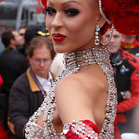 The Moulin Rouge girls 'glammed up' the pit lane with their feathers and finery, Le Mans 2011