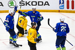 Anze Kopitar of Slovenia, Sabahudin Kovacevic of Slovenia and Robert Sabolic of Slovenia celebrate during ice hockey match between Slovenia and Lithuania at IIHF World Championship DIV. I Group A Kazakhstan 2019, on May 5, 2019 in Barys Arena, Nur-Sultan, Kazakhstan. Photo by Matic Klansek Velej / Sportida