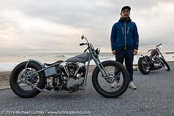 Toshihiro Ogasawara on his Sureshot custom 1942 Harley-Davidson FL Knucklehead on the SureShot ride around Chiba, Japan. Saturday, December 8, 2018. Photography ©2018 Michael Lichter.
