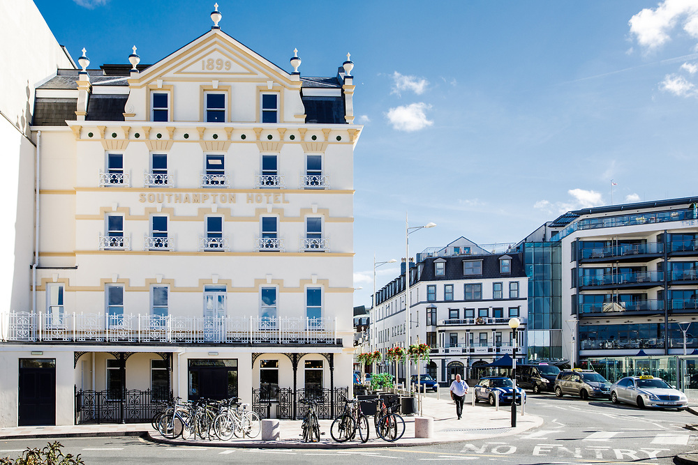 Hotels, cafes, pubs and bars at thge Weighbridge Square in St Helier, Jersey, Channel Islands