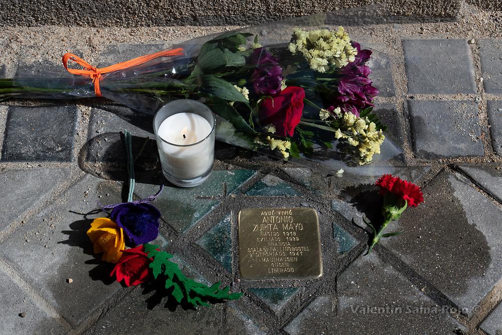 Madrid, Spain. 26th April, 2019.  The Stolperstein rememberingAntonio Zurita Mayo installed where he lived. © Valentin Sama-Rojo