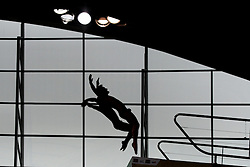 25.04.2014, Aquatics Centre, London, ENG, FINA, NVC Diving World Series 2014, Tag 1, im Bild silhouette of divers competing in the men's synchro 10m platform // silhouette of divers competing in the men's synchro 10m platform during day one of the FINA/NVC Diving World Series 2014 Aquatics Centre in London, Great Britain on 2014/04/25. EXPA Pictures © 2014, PhotoCredit: EXPA/ Mitchell Gunn<br /> <br /> *****ATTENTION - OUT of GBR*****