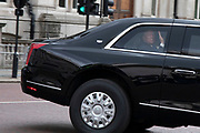 On the first day of the state visit by US President Donald Trump can be seen in his presidential motorcade as it drives along Horse Guards Road on 3rd June 2019 in London, United Kingdom.